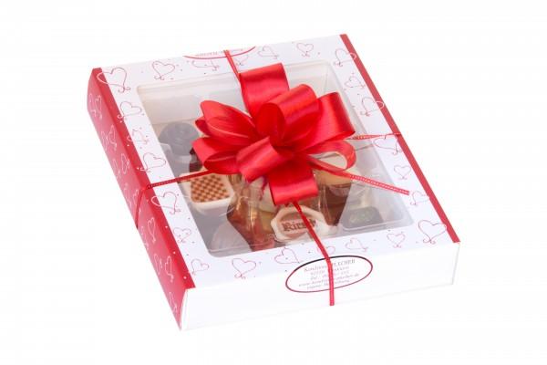 Geschenkverpackung 9-Stück rot/weiß mit Herzchen